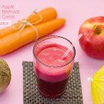 """Suco de frutas """"milagroso"""": beterraba + maçã + cenoura."""