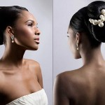 Penteado de noiva formal.