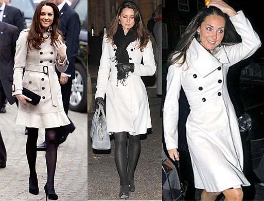 O casaco branco com meia preta fica super moderno e elegante. Kate Midleton que o diga.