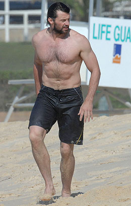 HUGH JACKMAN ENJOYS BEACH WITH HIS WIFE AND CHILDREN - SYDNEY