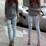 Para se inspirar: jeans rasgados mais tricô!