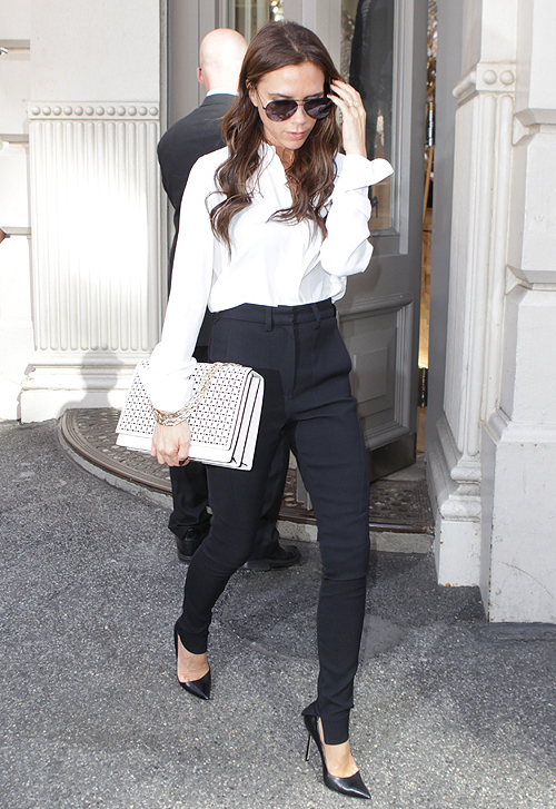 Victoria Beckham leaves a business meeting