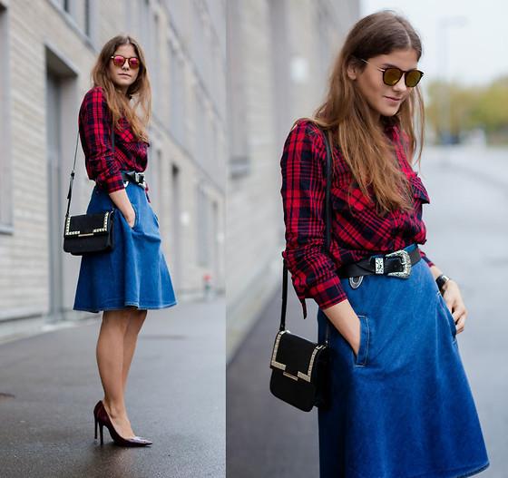 trend alert midi skirt jeans 10 inspirações de saia midi