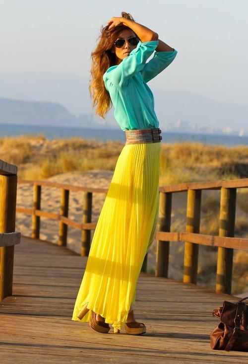looks-verão-2013-saias-plissadas-amarelas-verao-2013
