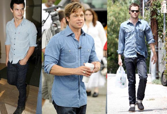 camisas-jeans masculina brad pitt