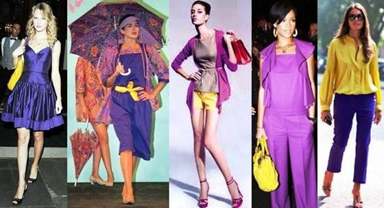 as cores violeta e amarelo