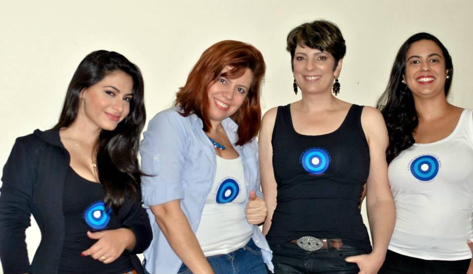 Bárbara Urias, Cássia Santana, eu e Gláucia Macedo.