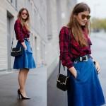 Trend alert: midi skirt jeans (saia midi)!