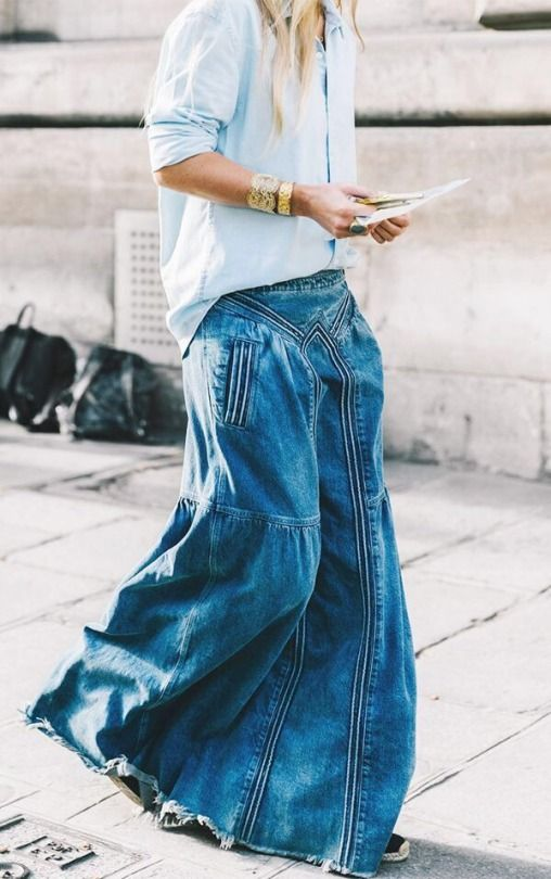 saia longa jeans tendência verão 2020 por Alessandra Faria
