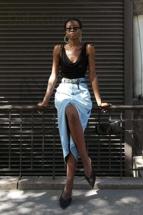 saia jeans com fenda frontal tendência verão 2020 por Alessandra Faria