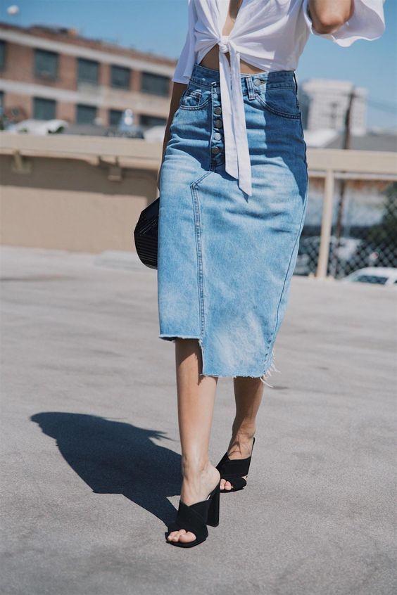 saia jeans assimétrica tendência verão 2020 por Alessandra Faria