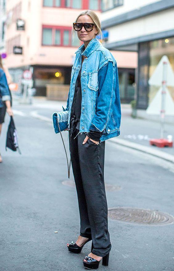 peças jeans para investir no verão 2020 por Alessandra Faria jaqueta jeans mais calça pijama
