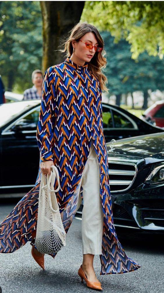 Maxi camisa em sobreposições na moda de rua verão 2020 por Alessandra Faria