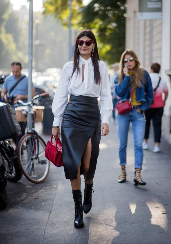 Leather skirt tendência inverno 2020 por Alessandra Faria