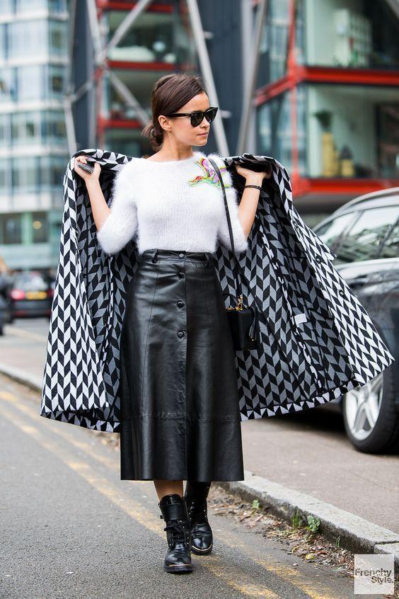 Saia leather tendência inverno 2020 por Alessandra Faria