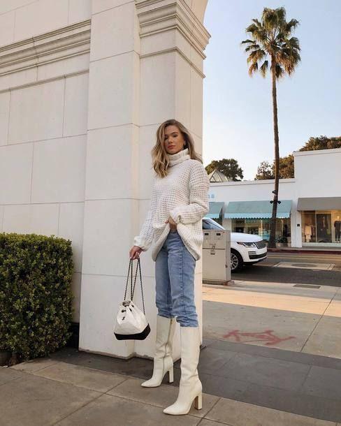 White boots cano alto alerta de tendência para se inspirar por Alessandra Faria