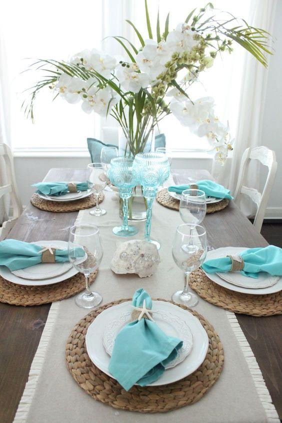 Decoração de mesa posta praia para se inspirar por Alessandra Faria