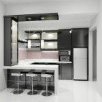 Cozinhas pequenas pretas e seus tons.