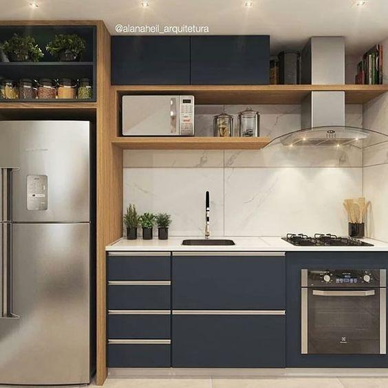 Cozinhas pequenas decoradas em tons de preto, branco e cinza por Alessandra Faria