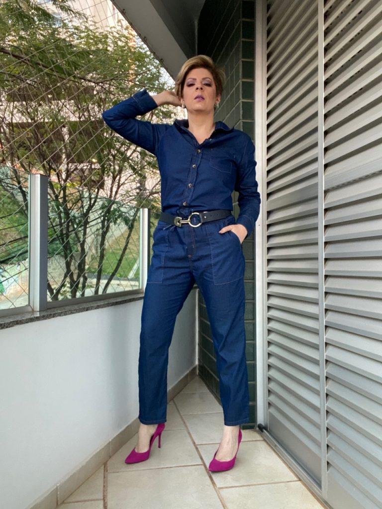 Macacão look all  jeans look do dia por Alessandra Faria