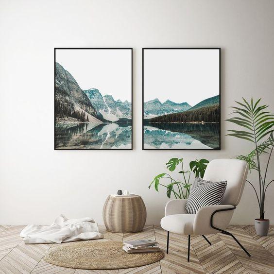 Composição de quadros de natureza na decoração por Alessandra Faria