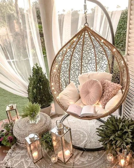 Cadeira balanço suspensa para se inspira por Alessandra Faria