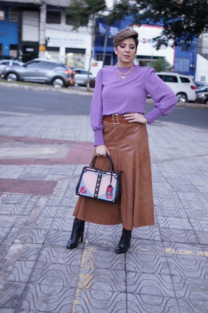 Lavanda e marrom look do dia por Alessandra Faria